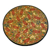 Lacquered Paper Mache Footed Tray with Floral Motif Papier Lacquer Lacquered