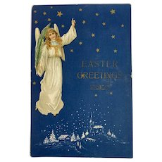 1908 German Embossed Easter Angel Postcard Germany