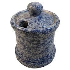 Blue Sponge Ware Jam Jar Spongeware