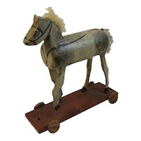 Doll Pull Toy Wood Horse Painted On Wood Base and Wheels