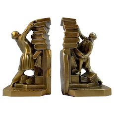 PM Craftsman Colonial Librarian with Falling Stack of Books Bookends Book Ends Scholar American Quality