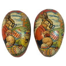 West German Papier Mache Easter Egg Candy Container Litho Decoration Bunny Rabbit in Glasses Painting Eggs Chick Germany Paper