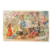 Liebig Victorian German Trade Card with Gnomes and Fairies for Fleisch Meat Extract Recipe on Back Woodland Scene Cooking