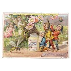Liebig Victorian German Trade Card with Gnomes and Fairies for Fleisch Meat Extract Recipe on Back Woodland Scene with Bee