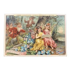 Liebig Victorian German Trade Card with Gnomes and Fairies Singing for Fleisch Meat Extract Recipe on Back Woodland Scene