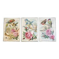 3 Large Victorian Bird Cards Embossed with Religious Quotes Pink Roses