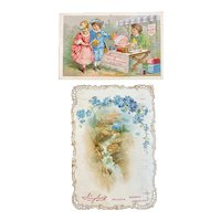 2 Huyler's Bonbons Chocolates Victorian Trade Cards Cocoa Bon Bons Die Cut
