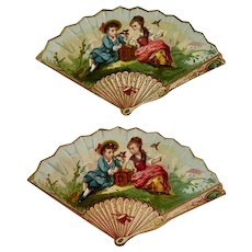 2 Victorian Die Cut Fan Shaped Calling or Trade Cards Romantic Scene with Pet Birds