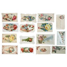 15 Victorian Calling Cards Salesman Samples Hands Birds Boats and Flowers Die Cut Embossed Pink Red Yellow Roses and Pansies