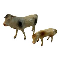2 Composition Stick Leg Cows Germany Christmas Putz Papa and Calf