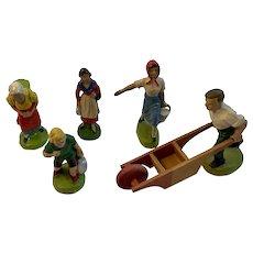 5 German Composition Figurines Farm People Farmer with Wheelbarrow Milkmaid Children Mother