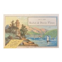 Victorian Trade Card Hallet & Davis Piano West Point Light Sold in Bangor ME by LJ Wheelden's Advertising