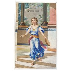 Victorian Trade Card Greek Motif Young Girl with Tambourine Sharp Importing Tailor Troy NY Advertising
