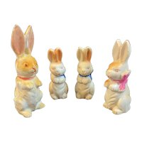 Bisque Easter Bunny Rabbit Family Vintage