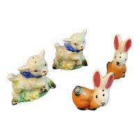 Lamb and Bunny Salt and Pepper Shakers Easter Spring Decor Vintage Holiday