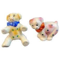 Polka Dot Pups Puppy Dog Salt and Pepper Shakers Vintage Japan Ceramics