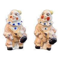 Clowns Riding Donkey Salt and Pepper Shakers Vintage Japan Ceramics Clown