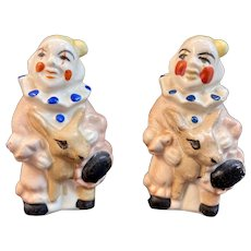Clowns Riding Donkey Salt and Pepper Shakers Vintage Japan Ceramics Clown
