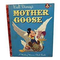 1952 Walt Disney's Mother Goose Mickey Mouse Club Little Golden Book First Printing with A