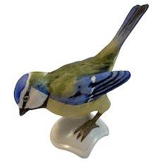 Goebel Blue Titmouse Bird Figurine West Germany Matte Finish