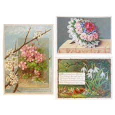 3 Victorian Floral Birthday Cards