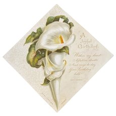 Raphael Tuck & Sons Calla Lily Birthday Card with Poem by Sam Cowan Lilies