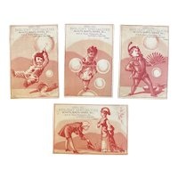 1881 1882 Westminster Maryland Victorian Trade Cards from Lawyer & Reaver Hats Boots Shoes Store at the RR Depot