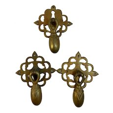 3 Victorian Brass Teardrop Drawer Pulls with Ornate Backplates Tear Drop