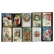 10 Antique Santa Claus Christmas Postcards Early 1900s Embossed German Clapsaddle For Framing or Craft Project Lot