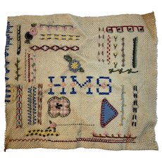 Needlework Sampler HMS Initials Almost Finished Vintage Needle Work Embroidery