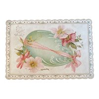 Edwardian Easter Card Die Cut Edges Egg and Flowers