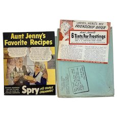 Spry Shortening Aunt Jenny's Favorite Recipes Cookbook with Frosting Tints and Original Premium Envelope Cook Book