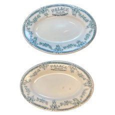 2 Ice Cream Dishes Palace Confectionary Restaurant Ware Shenango Green Transferware Transfer