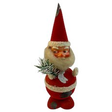 Flocked Santa Nodder Candy Container Christmas Bobble Head Paper Mache Plastic Head West German Western Germany