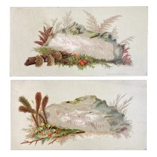2 Prang Victorian Birthday Cards 1880s Fern and Mushroom Chromolithographs