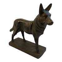 Cast Iron German Shepherd Dog Statue Paperweight Paper Weight Bookend Book End