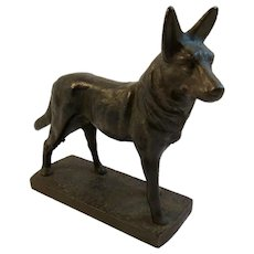 Cast Iron German Shepherd Dog Statue Paperweight Paper Weight Bookend Book End