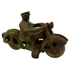 Hubley Toy Cast Metal Motorcycle with Rubber Wheels
