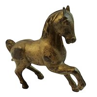 Cast Iron Gold Painted Toy Horse Bank