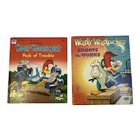1951 1955 Whitman Woody Woodpecker Childrens Books Tell A Tale Peck of Trouble Shoots the Works Vintage Walter Lantz Studio