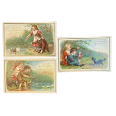 3 Victorian Birthday Cards Dog Ducks and Children Chromolithographs