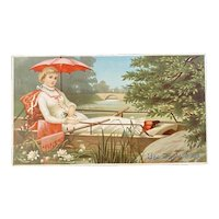 Day's Soap Lady in Row Boat Victorian Advertising Trade Card