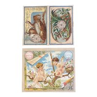2 1881 Clark's Mile End Pocket Calendars Victorian Era Advertising Groundhog Bird Nest Cherubs Sewing Thread Clarks Wallet