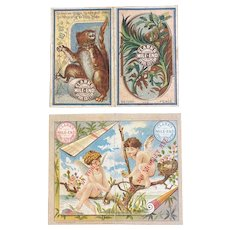2 1881 Clark's Mile End Pocket Calendars Victorian Era Advertising Groundhog Bird Nest Cherubs Sewing Thread Clarks Wallet