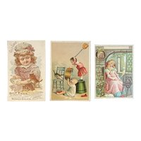 3 Victorian Kitty Cat Trade Cards Whittemore Sunshine and Lion Coffee Sleeping Beauty