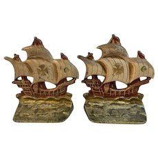 Cast Iron Ship Bookends With Original Paint Book Ends Nautical Galleon