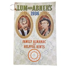 Lum and Abner's 1936 Family Almanac and Helpful Hints Book Vintage Kitchen Horlick's Advertising