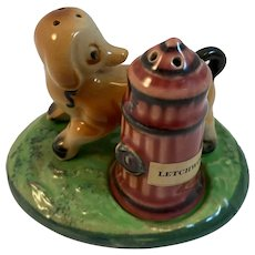 Humorous Dog and Fire Hydrant Salt and Pepper Shaker Set with Tray Japan Vintage
