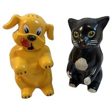 F&F Fifi and Fido Cat Dog Salt and Pepper Shaker Ken-L-Ration F & F Mold and Die Works