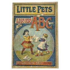 McLoughlin Bros Little Pets ABC Victorian Childrens Linen Book